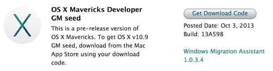 Mac : OS X Mavericks Golden Master (GM) disponible