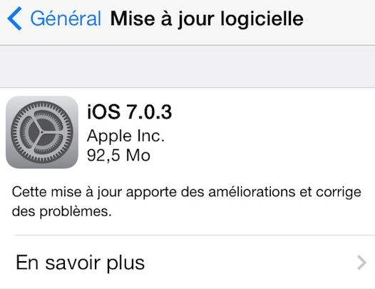 iOS 7.0.3 disponible sur iPhone, iPad, iPod Touch