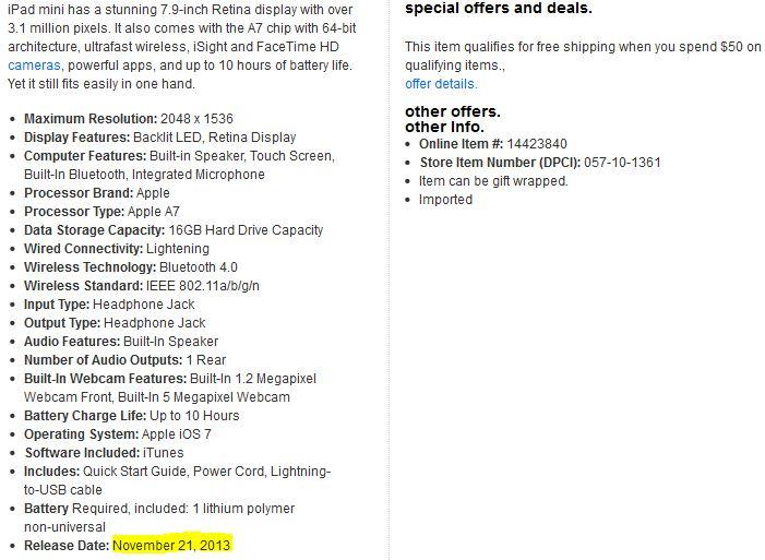 iPad Mini Retina : date de sortie le 21 novembre ?