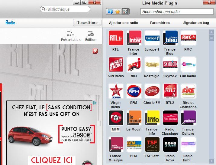 Live Media Plugin : écouter la radio sur iTunes Mac & PC