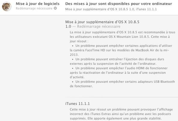 Apple : mise à jour d'OS X 10.8.5 et iTunes 11.1.1