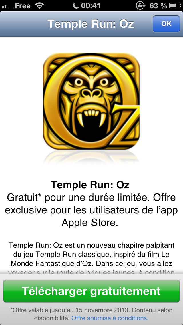Temple Run Oz gratuit sur l'Apple Store iOS