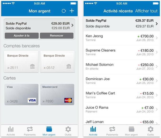Paypal : virement facilité et nouveau design iOS 7