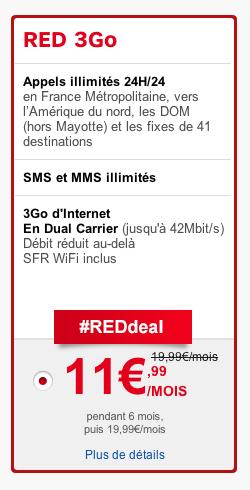 SFR : Forfait Red 3Go de nouveau à 11,99€ pendant 6 mois