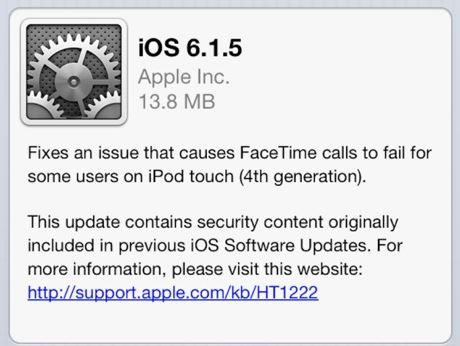 iOS 6.1.5 disponible sur iPod Touch 4G