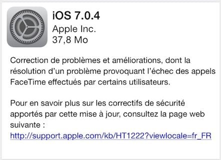 iOS 7.0.4 disponible sur iPhone, iPad, iPod Touch
