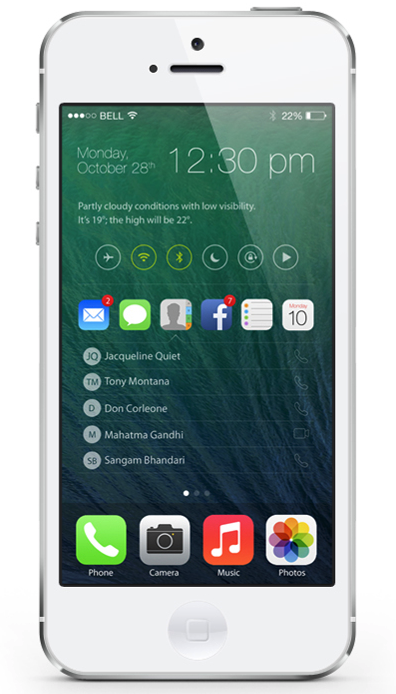 iOS 8 : concept de home screen repensé