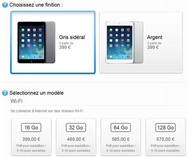 iPad Mini Retina : disponible sur l'Apple Store