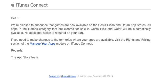 Apple ajoute des jeux aux App Stores du Costa Rica et du Qatar