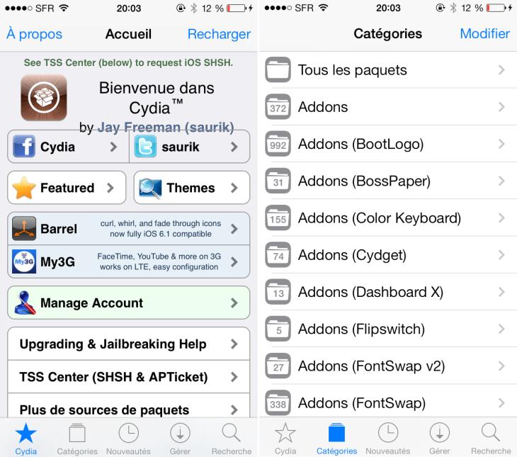 Jailbreak iOS 7 : mise à jour de Cydia en version 1.1.9