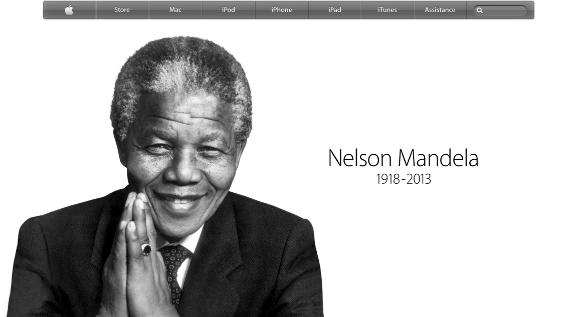 Nelson Mandela sur la page d accueil d Apple