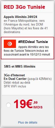 SFR : forfait RED 3Go avec appels illimités sur les fixes de Tunisie