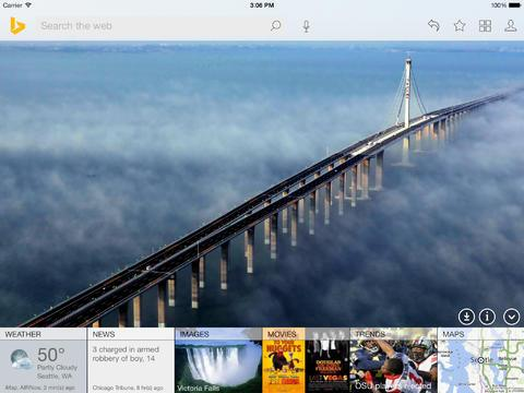 Bing iPad passe en version 2 sur l'App Store US
