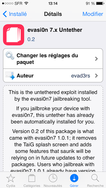 Jailbreak iOS 7 : evasi0n 7.x passe en version 0.2 sur Cydia