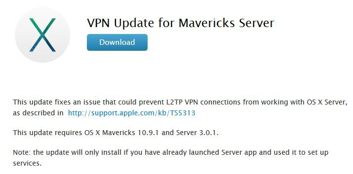 OS X Mavericks Server : mise à jour VPN