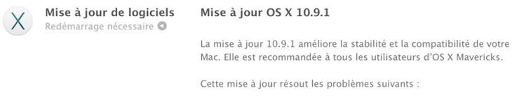 OS X 10.9.1 est disponible
