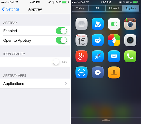 Cydia : AppTray, accéder à ses applications depuis le centre de notifications