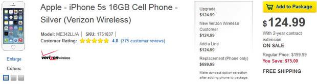 iPhone 5S : vendu 125 $ par Best Buy jusqu'au 4 janvier