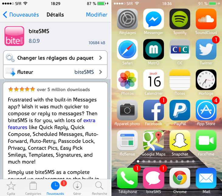 BiteSMS 8 bêta 9 : nouvelle icône et ajout de fonctionnalités