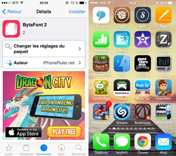 BytaFont 2 : changer la police d'écriture iOS 7 sur iPhone & iPad