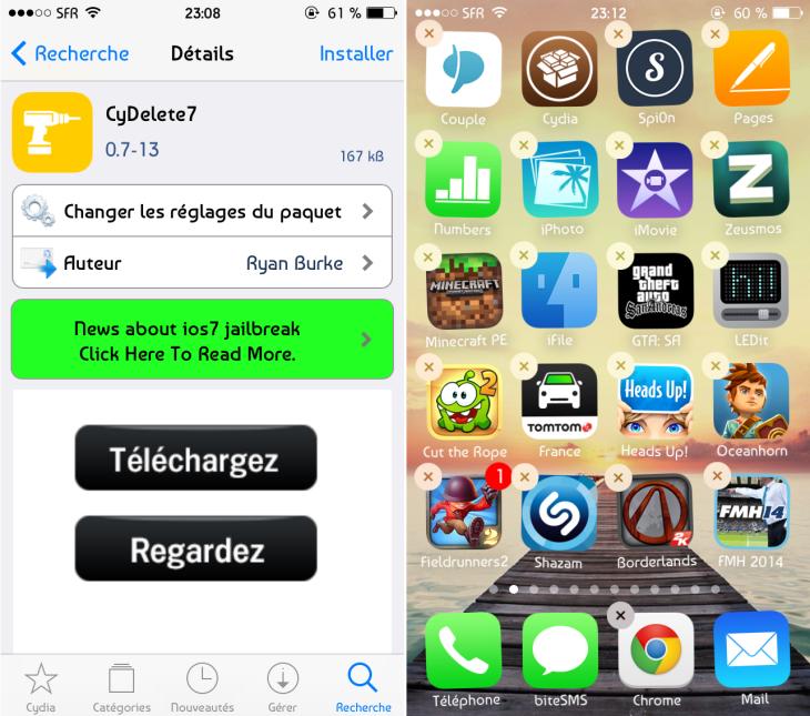 Jailbreak iOS 7 : CyDelete7, supprimer une application Cydia
