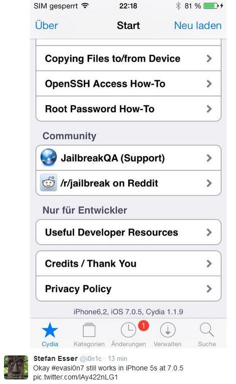 Jailbreak iOS 7 : iOS 7.0.5 ne l'empêche pas
