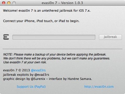Jailbreak iOS 7 : Evasi0n 7 1.0.3 compatible avec iOS 7.1 bêta 3