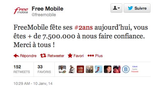 Free Mobile : plus de 7,5 millions d'abonnés en 2 ans