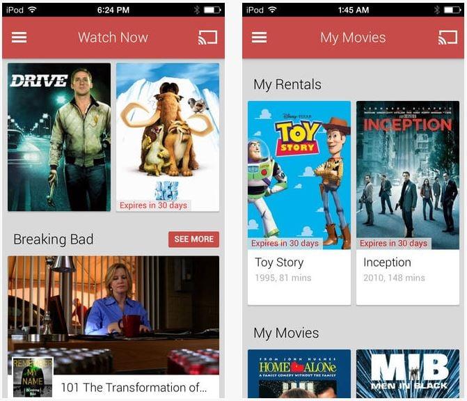 Google Play Films et TV disponible sur iOS