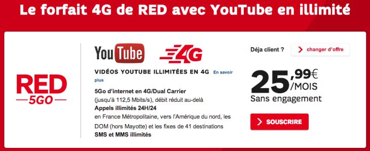SFR : Forfait RED 4G à 25,99€ avec YouTube illimité