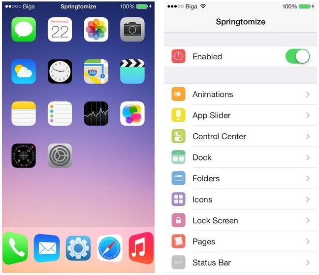 Cydia : Springtomize 3 compatible avec le jailbreak iOS 9