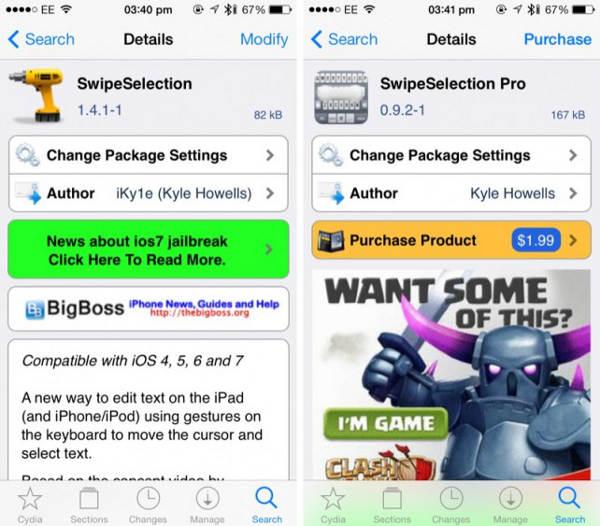 Cydia : SwipeSelection, éditer facilement du texte sur iOS 7