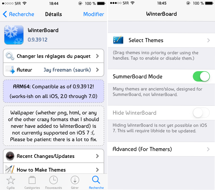 Cydia : Winterboard compatible iOS 7 et avec les appareils 64 bits