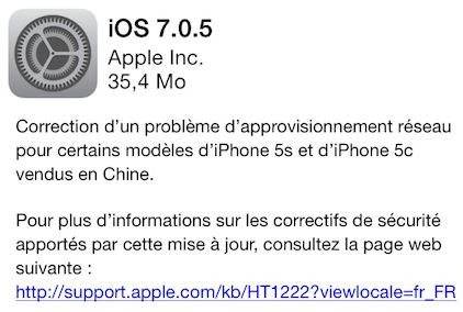 iOS 7.0.5 disponible pour iPhone 5S & iPhone 5C