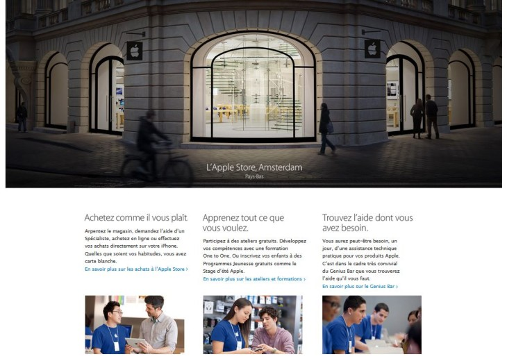 Apple.com : la section Retail adopte un design inspiré d'iOS 7