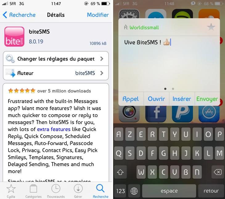 Cydia : BiteSMS 8 pour iOS 7 disponible en bêta finale