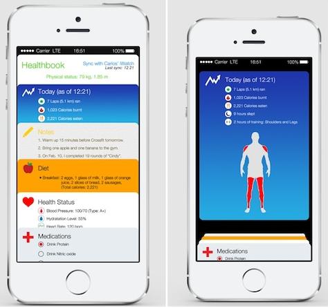 iOS 8 : premier concept pour l'application Healthbook