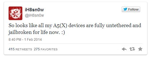Jailbreak iOS 7 à vie pour iPhone 4S, iPad 2/3, iPad mini et iPod Touch 5G ?