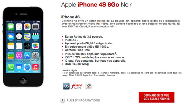 Free Mobile : location de l'iPhone 4S disponible