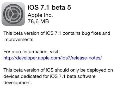 iOS 7.1 bêta 5 est disponible