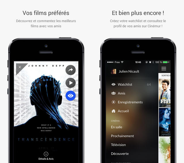 Cinémur : design optimisé iOS 7 et support de l'iPhone 5S