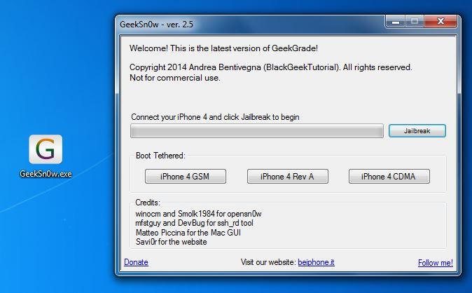 Tutoriel : Jailbreak iOS 7.1 iPhone 4 tethered avec GeekSn0w
