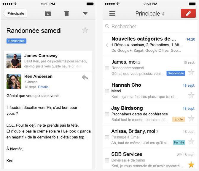 Gmail iOS : nouvelles interactions avec Google Drive