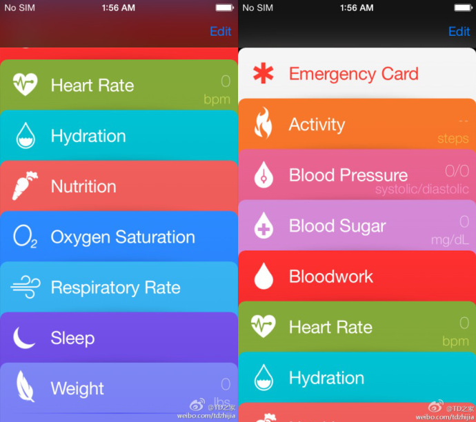 iOS 8 : premières captures d'écran de l'application Healthbook