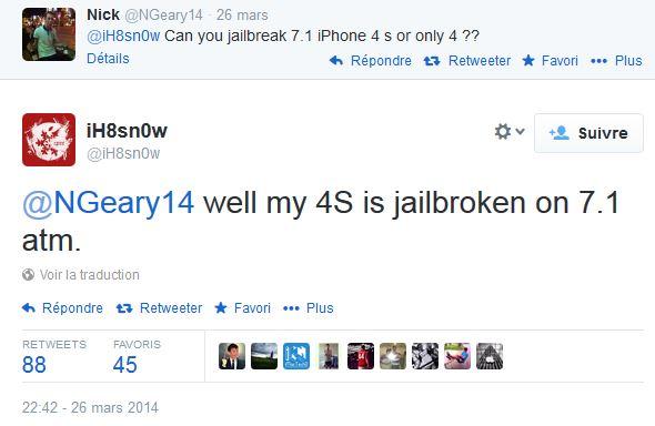 Jailbreak iOS 7.1 : réussi sur l'iPhone 4s par iH8sn0w