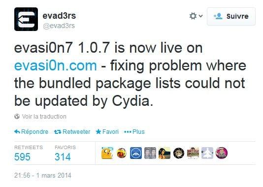 Jailbreak iOS 7 : Evasi0n 7 1.0.7 corrige un problème de paquets Cydia