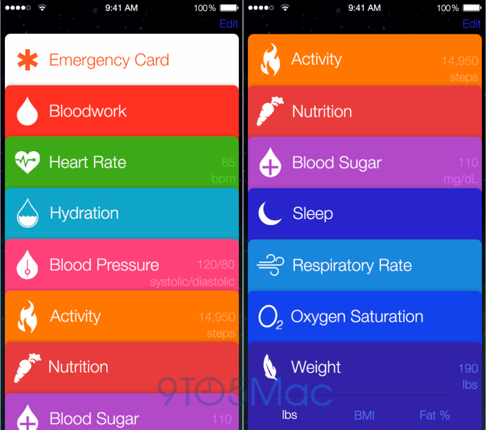 iOS 8 : plusieurs maquettes de l'application Healthbook