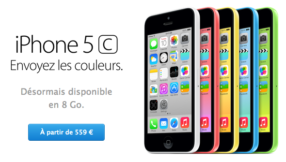 Apple Store : iPhone 5C 8Go et iPad 4 4G disponibles