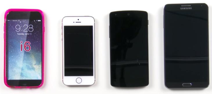 iPhone 6 : une coque comparée à l'iPhone 5S, au Nexus 5 et au Galaxy Note 3 (vidéo)