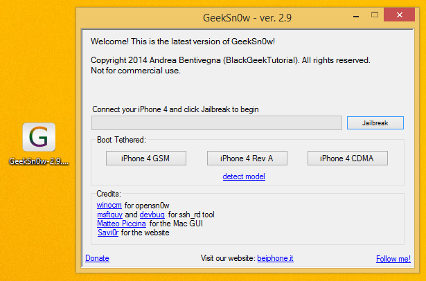 Tutoriel : Jailbreak iOS 7.1.1 iPhone 4 semi-tethered avec GeekSn0w
